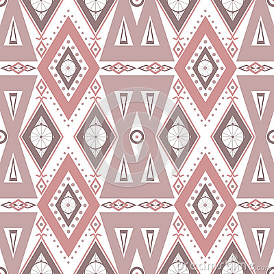 Abstract beige ornament seamless pattern on white