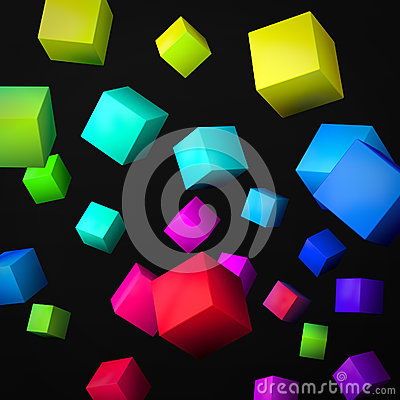 Abstract black background made of color cubes