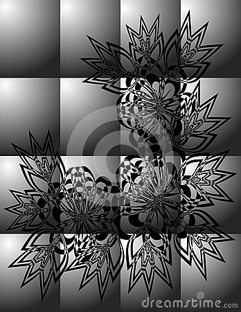 Abstract black floral ornament on grey background