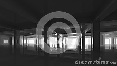 Abstract black modern interior with columns