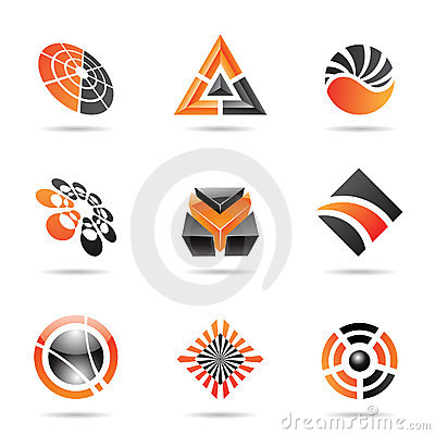 Abstract black and orange Icon Set 23