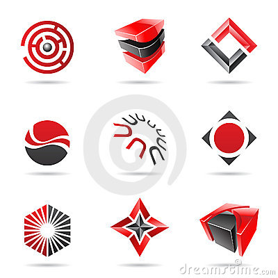 Abstract black and red Icon Set