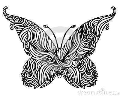 Abstract black and white butterfly design