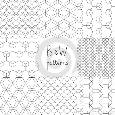 Abstract black and white simple geometric seamless patterns set, vector Vector Illustration