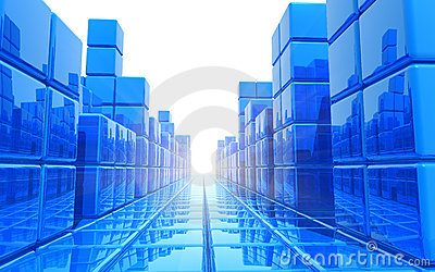 Abstract blue architectural background
