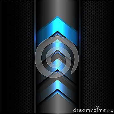 Free Abstract Blue Arrow Power Light Technology On Dark Gray Metal Circle Mesh Design Modern Futuristic Background Texture Vector. Stock Photography - 104415132
