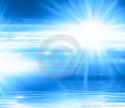 Abstract blue background with lines and rays
