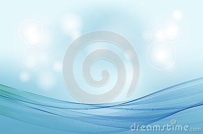 Abstract blue background with transparent wave lines and sun glare. Vector Illustration