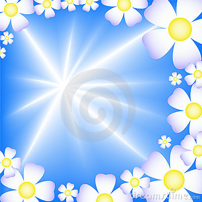 Free Abstract Blue Background With White Flowers Stock Photography - 14994672