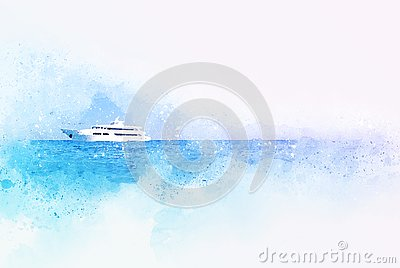 Abstract blue color shape on speed boat in the ocean on watercolor illustration painting Cartoon Illustration