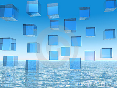 Abstract Blue Cubes over Water