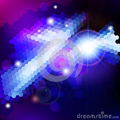Abstract blue lens flare technology  background.