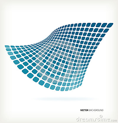 Abstract blue mosaic wave vector background