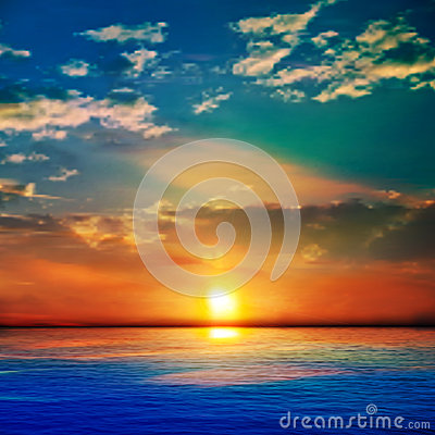 Free Abstract Blue Nature Background With Sea Unset And Clouds Stock Image - 42037801