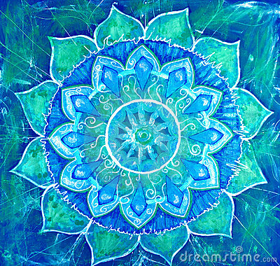 Abstract blue painted picture with circle pattern