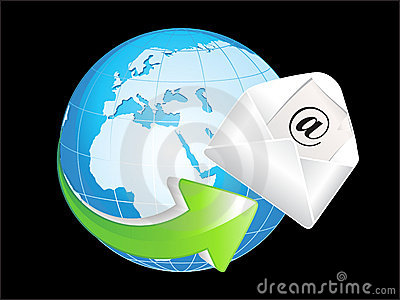 Abstract blue shiny globe with mail icon