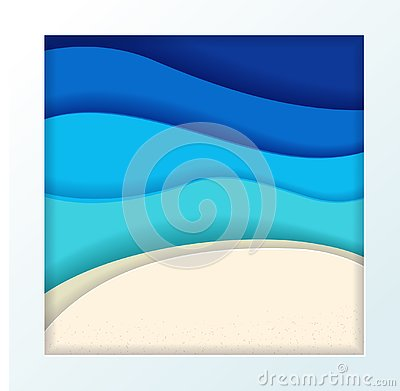 Abstract blue turquoise maldivian ocean and beach summer background with paper waves and textured seacoast. Tropical sea gradient Cartoon Illustration