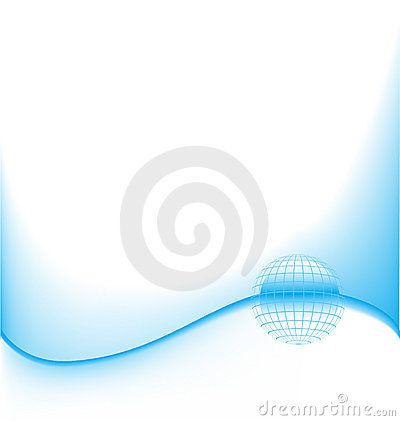 Abstract blue wave with globe