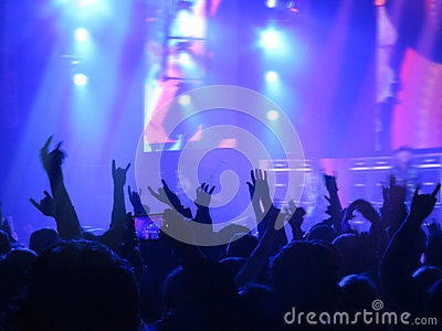 Abstract blurred image. Crowd during a entertainment public concert a musical performance. Hand fans in fun zone people