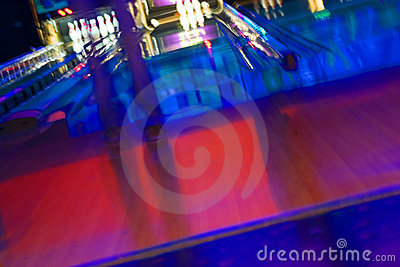Abstract Blurry Bowling Alley with a girl standing