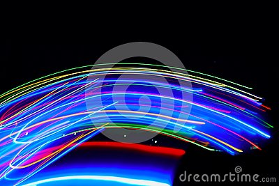 Abstract of Blurry colorful of motions LED lights Stock Photo