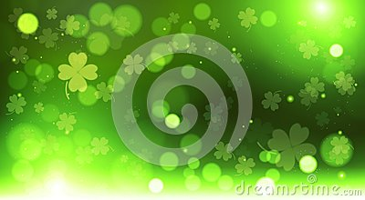Abstract Bokeh Blur Template Clovers Background, Green Happy Saint Patrick Day Concept Vector Illustration