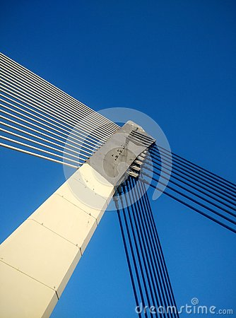 Abstract bridge interconnected cable with blue sky background Stock Photo