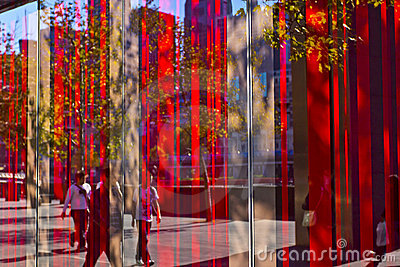 Abstract - Bright red window