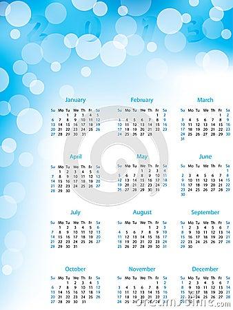 Abstract bubble 2013 calendar
