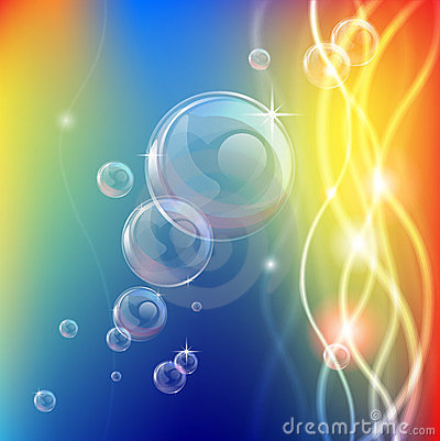 Abstract bubbles lines and lights background