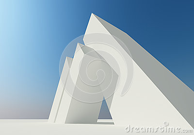 Abstract building of white structure