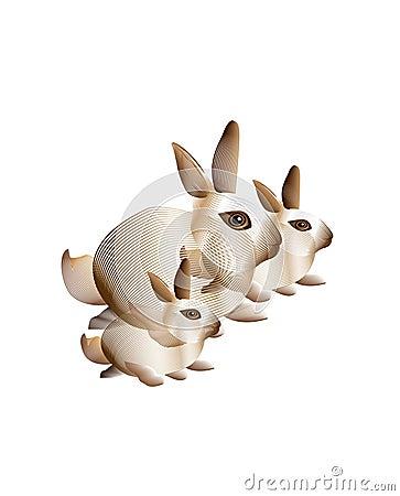 Abstract bunny rabbits