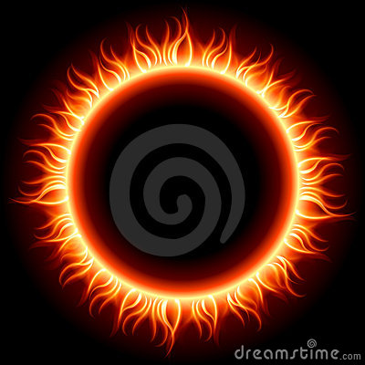 Abstract burning fire circle top view