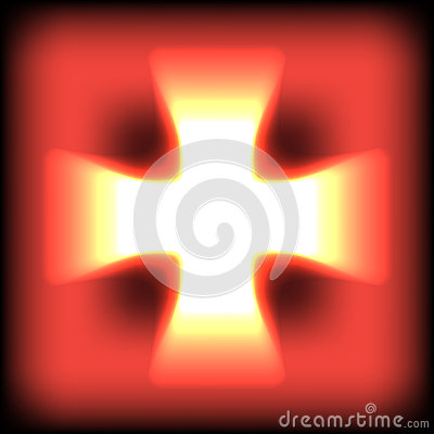 Free Abstract Burning Orange Glow Cross. Vector Royalty Free Stock Images - 38456029