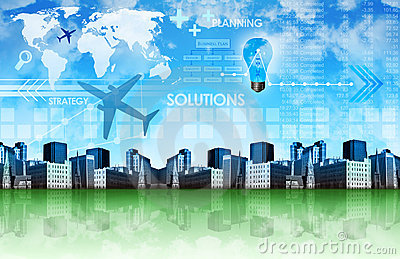 Abstract Business Background with City