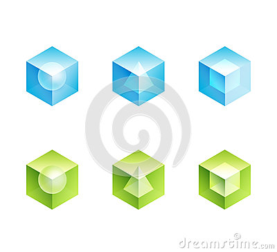 Abstract business logo set. cube  icons shapes