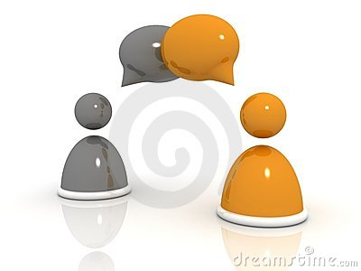 Abstract business people figures with speech bubbl