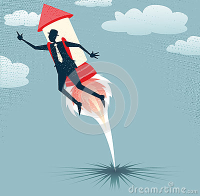 Free Abstract Businessman Jets Off With Rocket Pack. Stock Image - 34282011