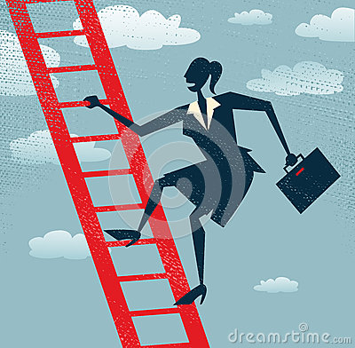Abstract Businesswoman climbs up