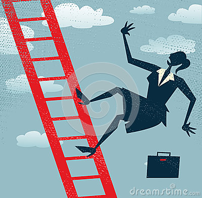 Abstract Businesswoman falls