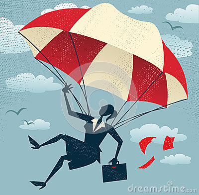 Abstract Businesswoman uses her Parachute.