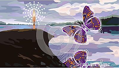 Abstract butterflies and beach