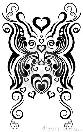 Abstract butterfly and heart tribal tattoo vector