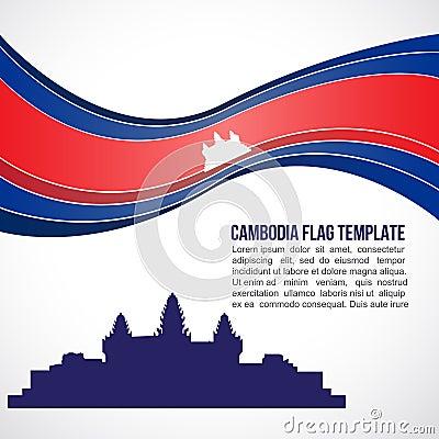 Free Abstract Cambodia Flag Wave And Angkor Wat Stock Image - 55244121