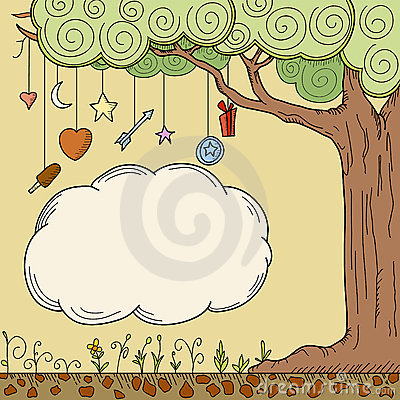 Free Abstract Cartoon Tree With Place For Your Text Royalty Free Stock Images - 19964439