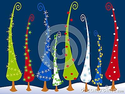 Abstract Cartoonish Christmas Trees 3