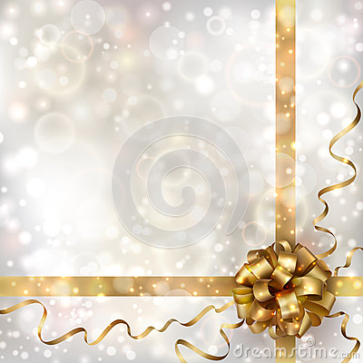 Free Abstract Christmas Background With Golden Bow Royalty Free Stock Photo - 27406245