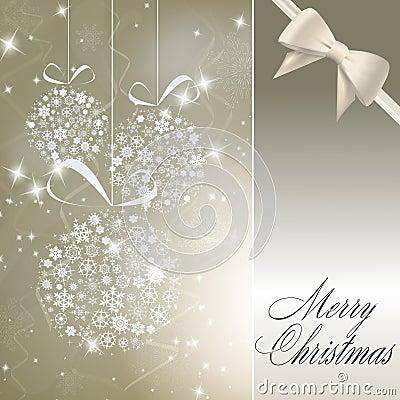 Abstract christmas balls made of white snowflakes