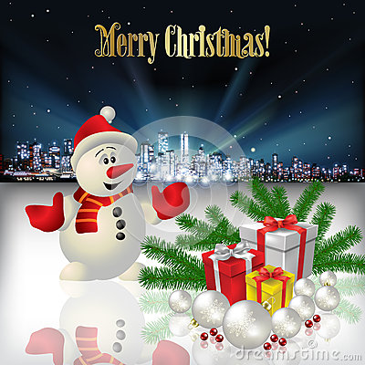 Free Abstract Christmas Greeting With Silhouette Of City Stock Images - 60702644