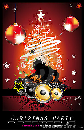 Abstract Christmas Music Disco Background